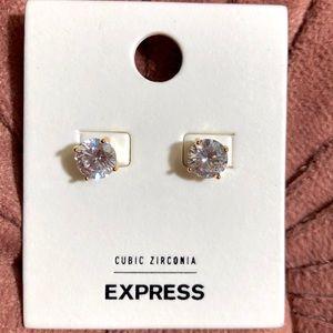 New! EXPRESS Round Rhinestones Post Earrings